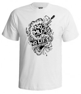 تی شرت ابزار موسیقی طرح no music no life