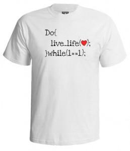 تی شرت برنامه نویسی طرح live life