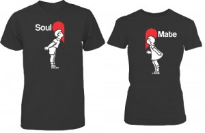 تی شرت دونفره طرح soul mate