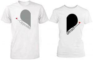 تی شرت دو نفره طرح opposites attract