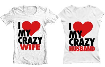 تی شرت دو نفره i love my crazy wife husband
