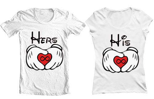 تی شرت دو نفره طرح his hers