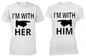 تی شرت دو نفره طرح i m with him her