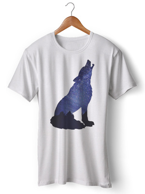 تی شرت حیوانات طرح گرگ howl silhouette