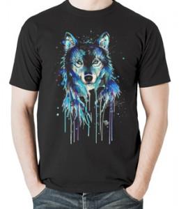 تی شرت حیوانات طرح گرگ watercolor wolf