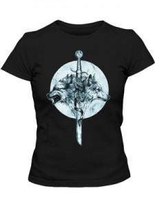 تی شرت زنانه طرح گرافیکی گرگ wolf sword
