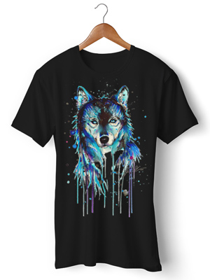 تی شرت حیوانات طرح watercolor wolf