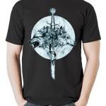 تی شرت طرح گرافیکی گرگ wolf sword