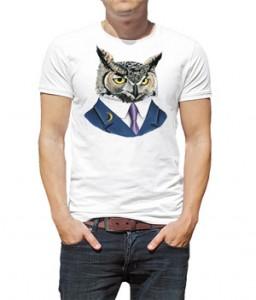 تی شرت حیوانات طرح جغد Horned Owl